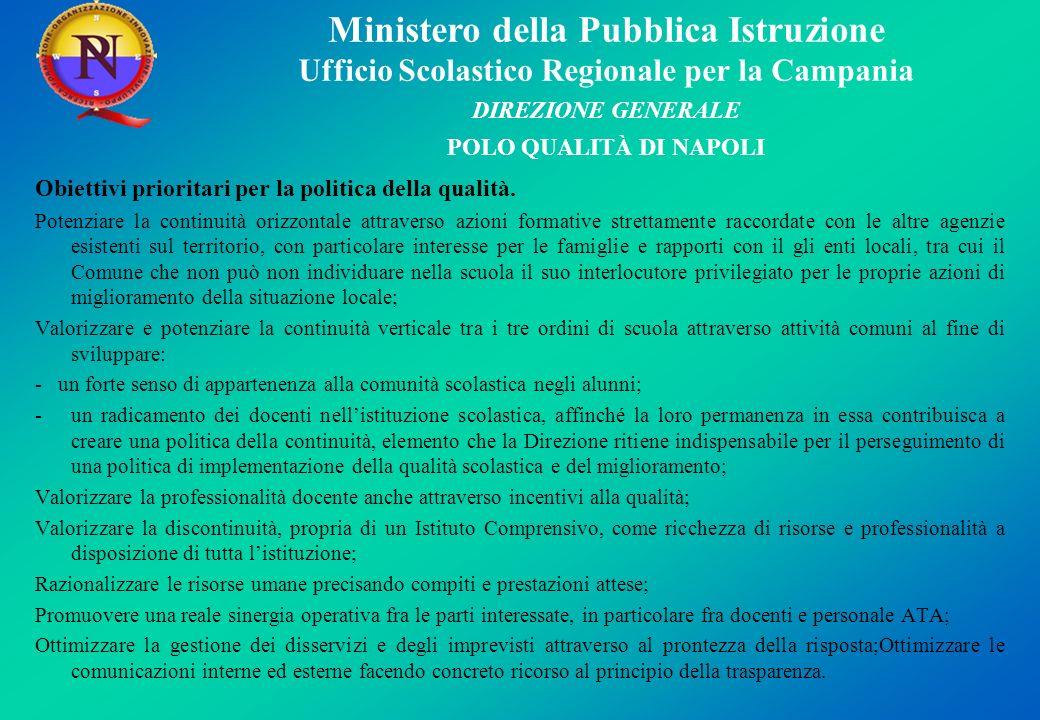 Ministero della Pubblica Istruzione Ufficio Scolastico Regionale per la Campania DIREZIONE GENERALE POLO QUALITÀ DI NAPOLI Obiettivi prioritari per la