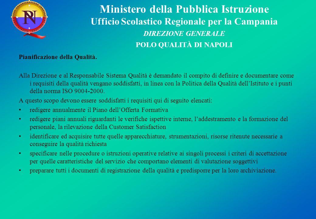 Ministero della Pubblica Istruzione Ufficio Scolastico Regionale per la Campania DIREZIONE GENERALE POLO QUALITÀ DI NAPOLI Pianificazione della Qualit