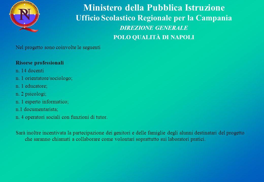 Ministero della Pubblica Istruzione Ufficio Scolastico Regionale per la Campania DIREZIONE GENERALE POLO QUALITÀ DI NAPOLI Nel progetto sono coinvolte