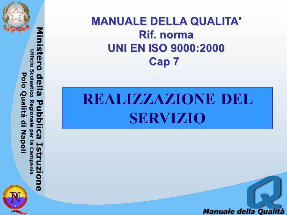 MANUALE DELLA QUALITA' Rif. norma UNI EN ISO 9000:2000 Cap 7 Cap 7 REALIZZAZIONE DEL SERVIZIO