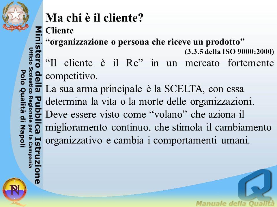 Ma chi è il cliente? Cliente organizzazione o persona che riceve un prodotto (3.3.5 della ISO 9000:2000) Il cliente è il Re in un mercato fortemente c