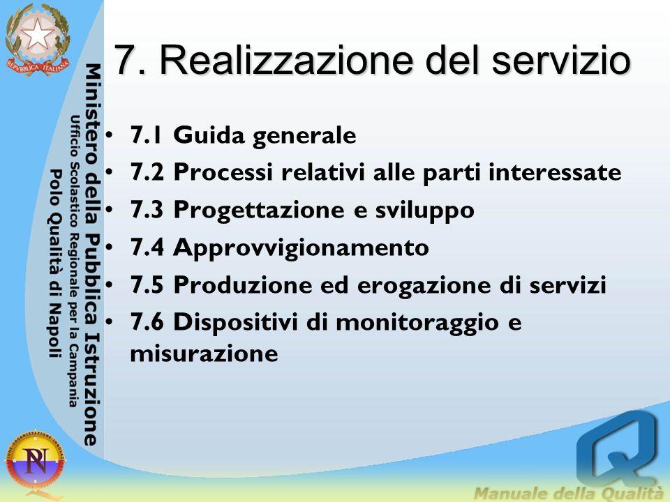 7. Realizzazione del servizio 7.1 Guida generale 7.2 Processi relativi alle parti interessate 7.3 Progettazione e sviluppo 7.4 Approvvigionamento 7.5