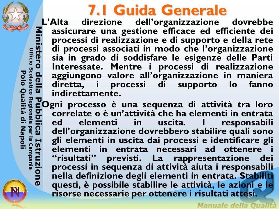 7.1 Guida Generale LAlta direzione dellorganizzazione dovrebbe assicurare una gestione efficace ed efficiente dei processi di realizzazione e di suppo