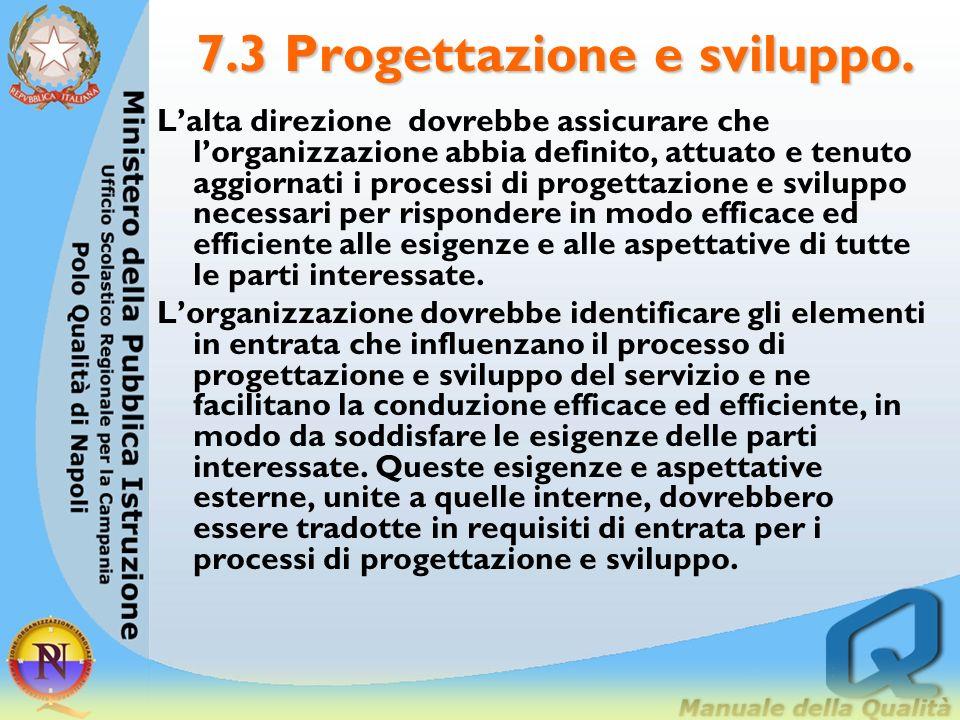 7.3 Progettazione e sviluppo. Lalta direzione dovrebbe assicurare che lorganizzazione abbia definito, attuato e tenuto aggiornati i processi di proget