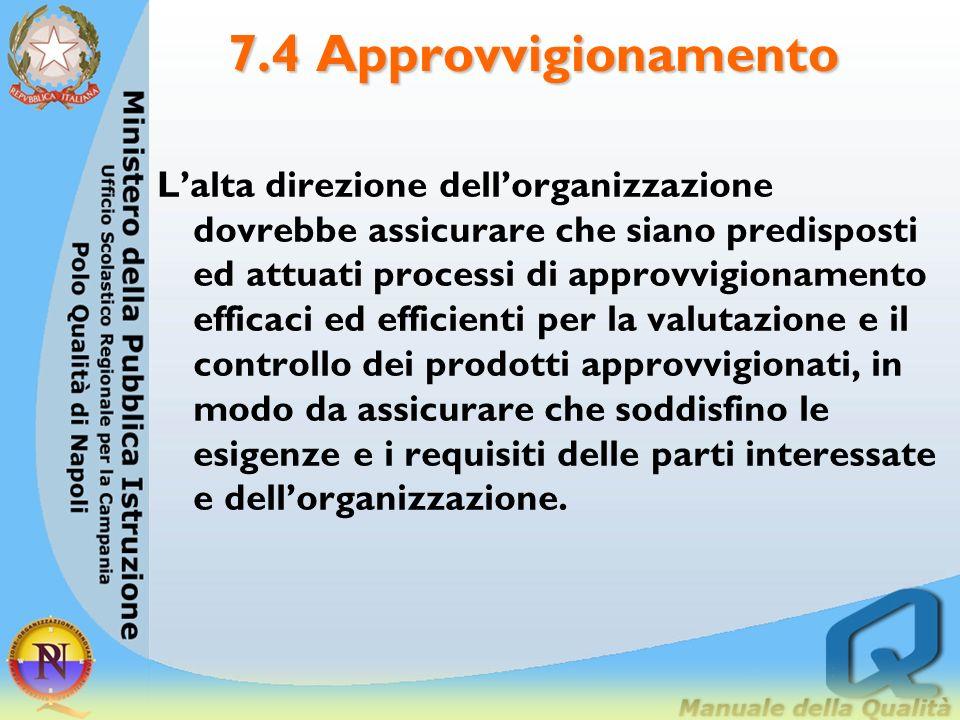 7.4 Approvvigionamento Lalta direzione dellorganizzazione dovrebbe assicurare che siano predisposti ed attuati processi di approvvigionamento efficaci