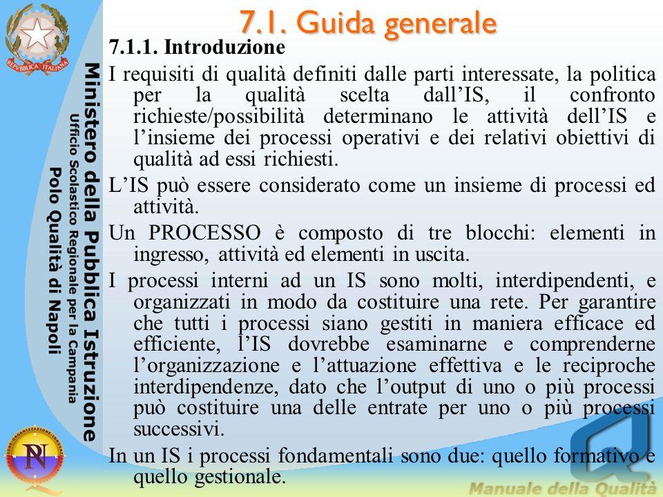 7.1. Guida generale 7.1.1. Introduzione I requisiti di qualità definiti dalle parti interessate, la politica per la qualità scelta dallIS, il confront