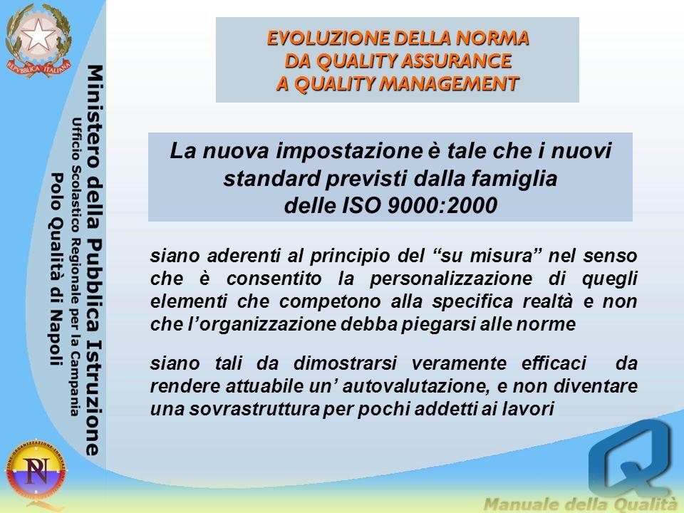 EVOLUZIONE DELLA NORMA DA QUALITY ASSURANCE A QUALITY MANAGEMENT siano aderenti al principio del su misura nel senso che è consentito la personalizzaz