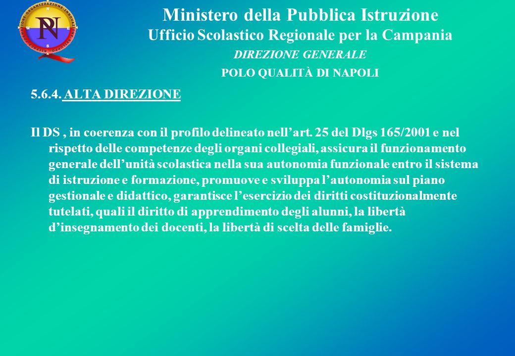 Ministero della Pubblica Istruzione Ufficio Scolastico Regionale per la Campania DIREZIONE GENERALE POLO QUALITÀ DI NAPOLI 5.6.4.