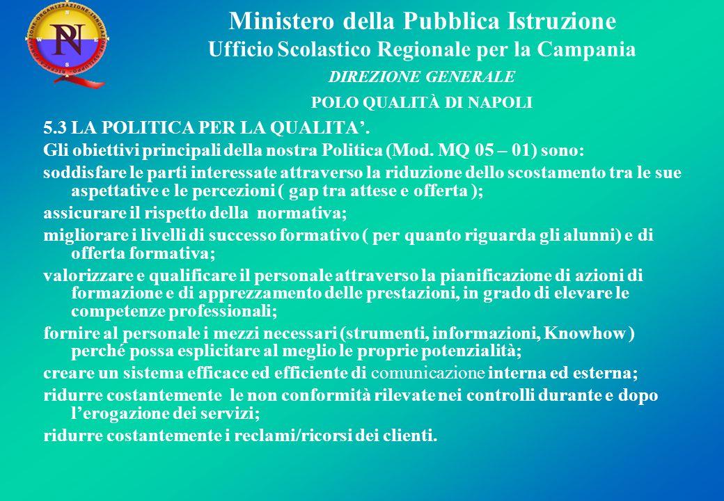 Ministero della Pubblica Istruzione Ufficio Scolastico Regionale per la Campania DIREZIONE GENERALE POLO QUALITÀ DI NAPOLI 5.3 LA POLITICA PER LA QUALITA.