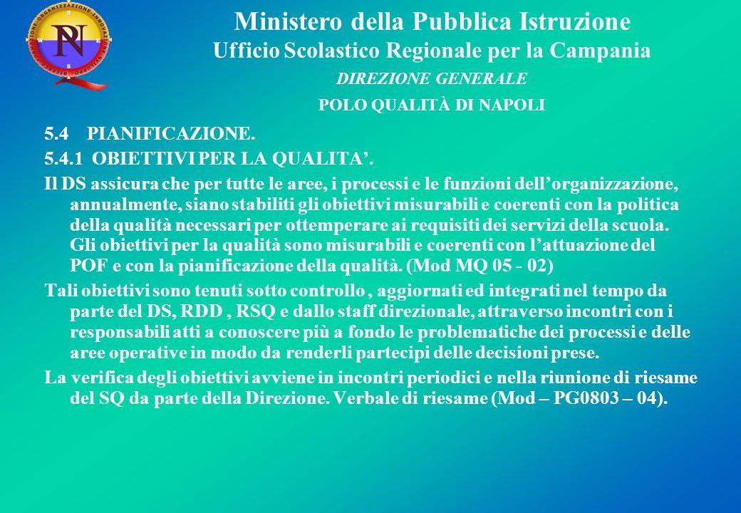 Ministero della Pubblica Istruzione Ufficio Scolastico Regionale per la Campania DIREZIONE GENERALE POLO QUALITÀ DI NAPOLI 5.4 PIANIFICAZIONE.