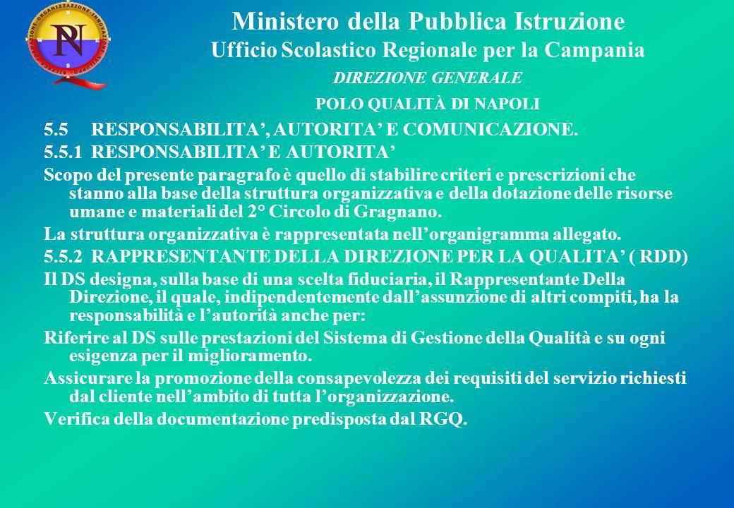 Ministero della Pubblica Istruzione Ufficio Scolastico Regionale per la Campania DIREZIONE GENERALE POLO QUALITÀ DI NAPOLI 5.5 RESPONSABILITA, AUTORITA E COMUNICAZIONE.
