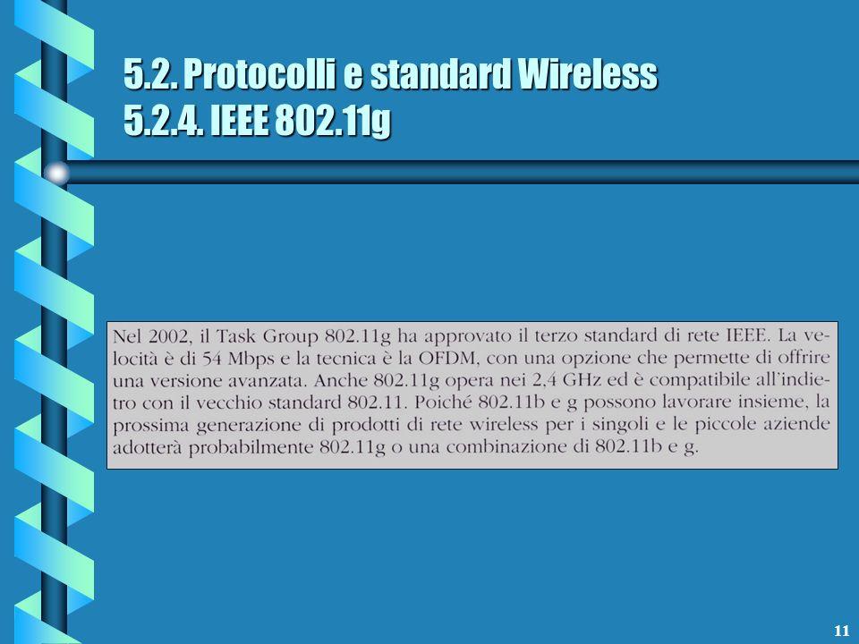 11 5.2. Protocolli e standard Wireless 5.2.4. IEEE 802.11g