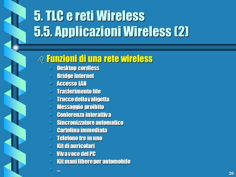 20 5. TLC e reti Wireless 5.5. Applicazioni Wireless (2) b Funzioni di una rete wireless Desktop cordlessDesktop cordless Bridge InternetBridge Intern