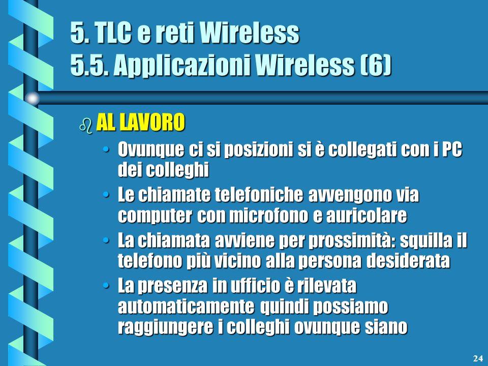 24 5. TLC e reti Wireless 5.5. Applicazioni Wireless (6) b AL LAVORO Ovunque ci si posizioni si è collegati con i PC dei colleghiOvunque ci si posizio
