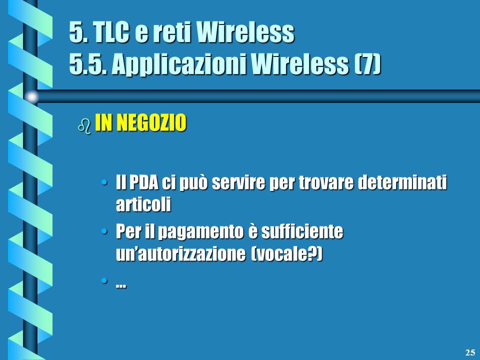 25 5. TLC e reti Wireless 5.5. Applicazioni Wireless (7) b IN NEGOZIO Il PDA ci può servire per trovare determinati articoliIl PDA ci può servire per