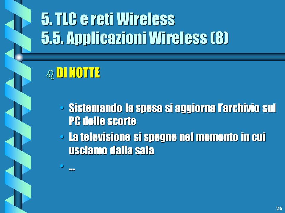 26 5. TLC e reti Wireless 5.5. Applicazioni Wireless (8) b DI NOTTE Sistemando la spesa si aggiorna larchivio sul PC delle scorteSistemando la spesa s