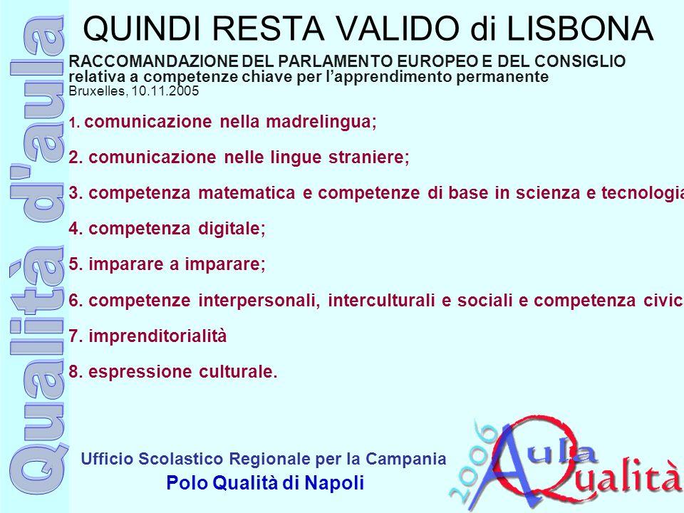 Ufficio Scolastico Regionale per la Campania Polo Qualità di Napoli QUINDI RESTA VALIDO di LISBONA RACCOMANDAZIONE DEL PARLAMENTO EUROPEO E DEL CONSIG