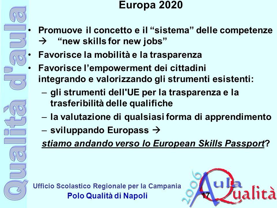 Ufficio Scolastico Regionale per la Campania Polo Qualità di Napoli 17 Europa 2020 Promuove il concetto e il sistema delle competenze new skills for n