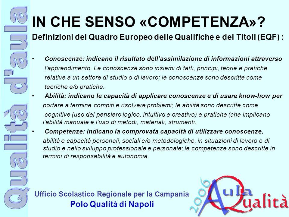 Ufficio Scolastico Regionale per la Campania Polo Qualità di Napoli IN CHE SENSO «COMPETENZA»? Definizioni del Quadro Europeo delle Qualifiche e dei T