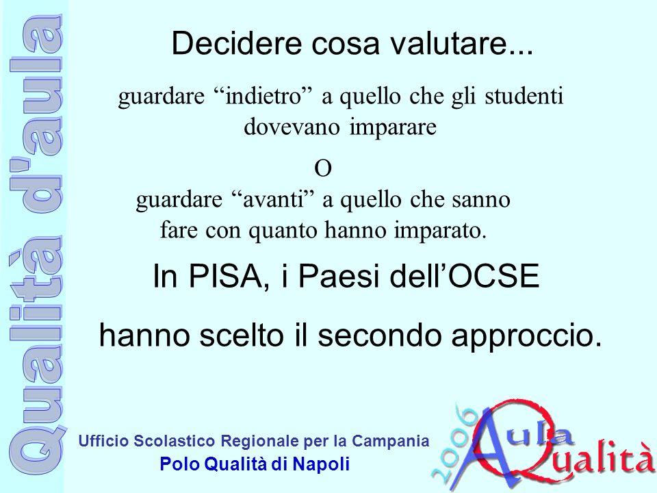 Ufficio Scolastico Regionale per la Campania Polo Qualità di Napoli Decidere cosa valutare... guardare indietro a quello che gli studenti dovevano imp