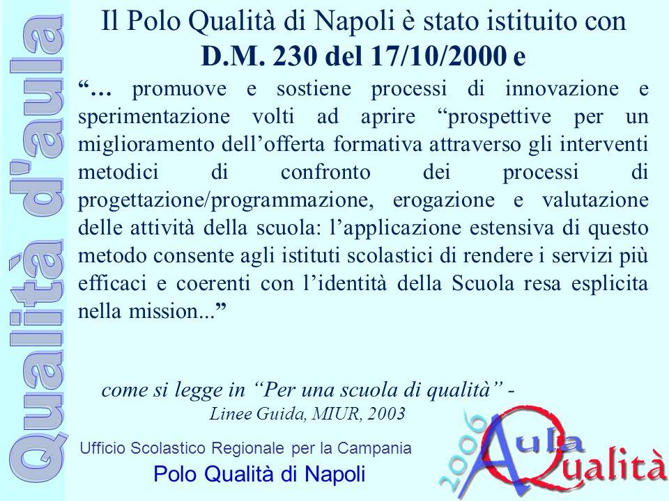 Ufficio Scolastico Regionale per la Campania Polo Qualità di Napoli Il Polo Qualità di Napoli è stato istituito con D.M. 230 del 17/10/2000 e … promuo