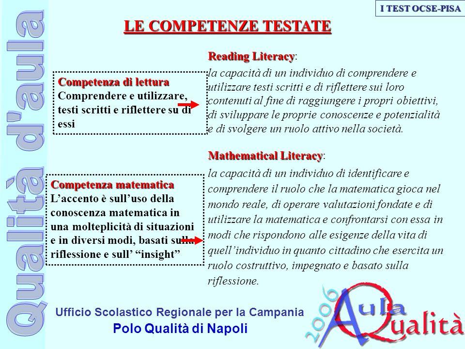 Ufficio Scolastico Regionale per la Campania Polo Qualità di Napoli Competenza matematica Laccento è sulluso della conoscenza matematica in una moltep