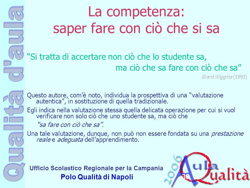 Ufficio Scolastico Regionale per la Campania Polo Qualità di Napoli 38 La competenza: saper fare con ciò che si sa Si tratta di accertare non ciò che