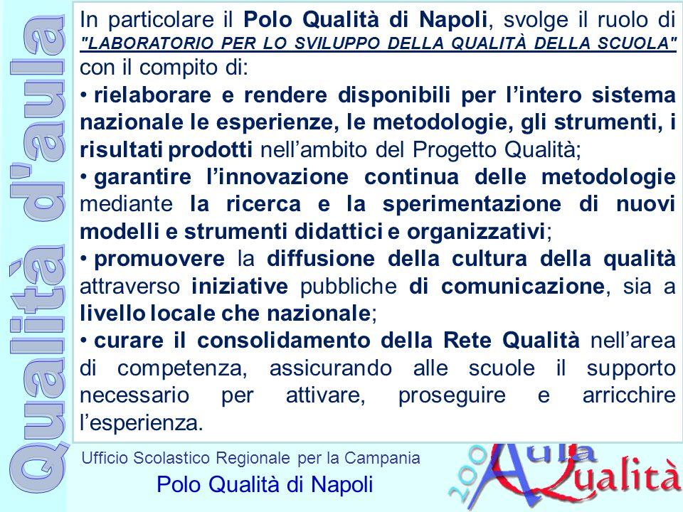 Ufficio Scolastico Regionale per la Campania Polo Qualità di Napoli In particolare il Polo Qualità di Napoli, svolge il ruolo di
