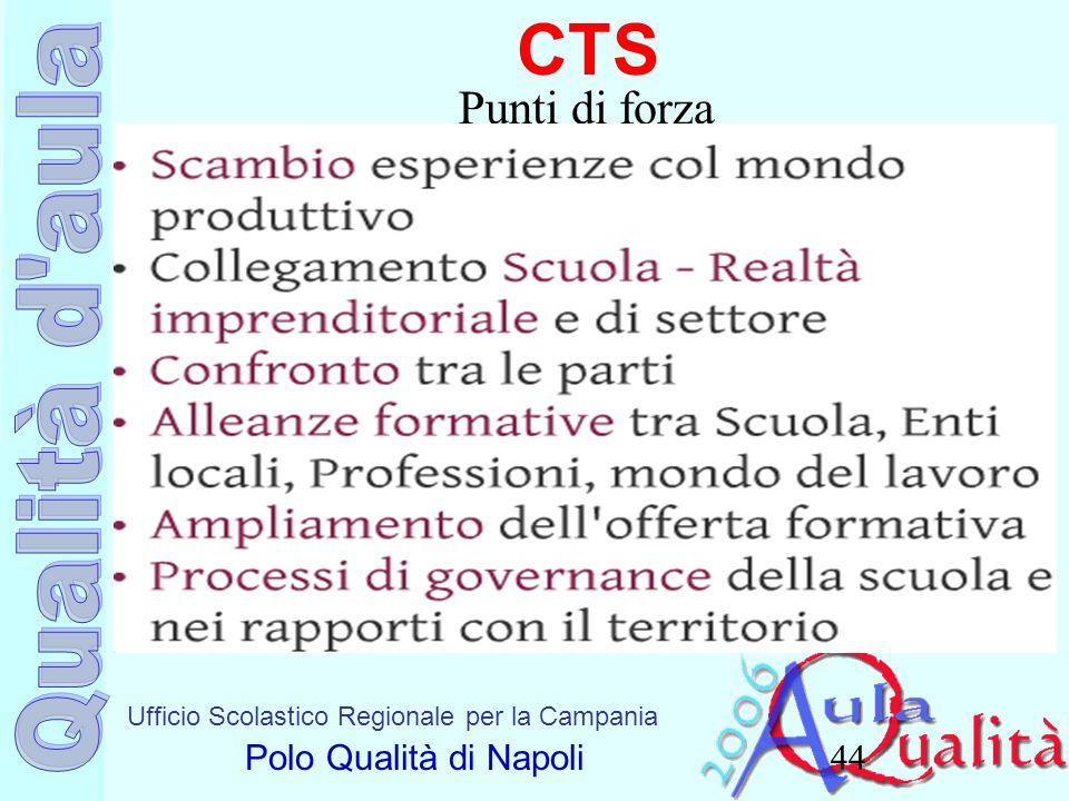 Ufficio Scolastico Regionale per la Campania Polo Qualità di Napoli CTS 44 Punti di forza