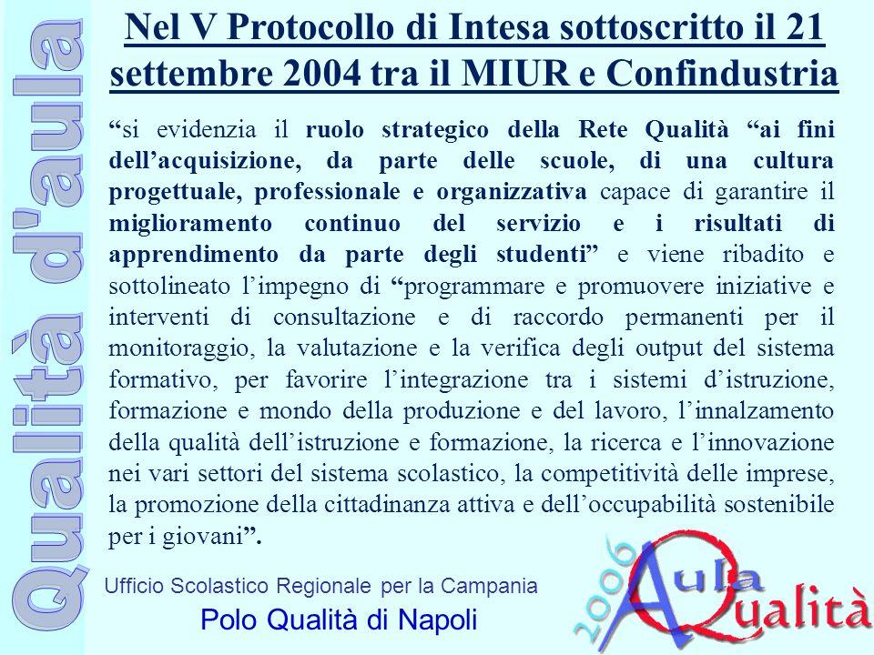 Ufficio Scolastico Regionale per la Campania Polo Qualità di Napoli si evidenzia il ruolo strategico della Rete Qualità ai fini dellacquisizione, da p