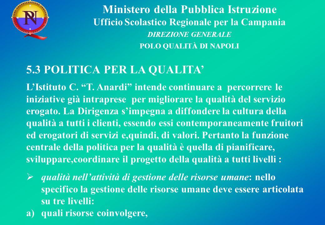 Ministero della Pubblica Istruzione Ufficio Scolastico Regionale per la Campania DIREZIONE GENERALE POLO QUALITÀ DI NAPOLI 5.3 POLITICA PER LA QUALITA