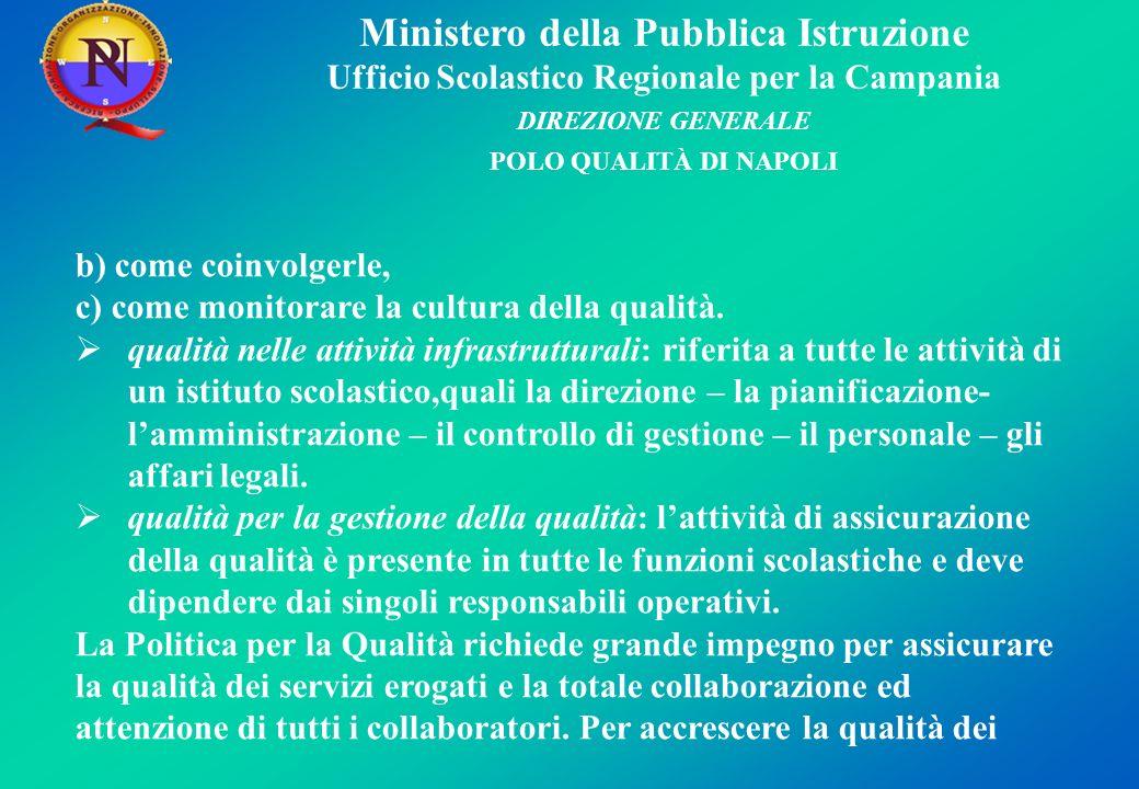 Ministero della Pubblica Istruzione Ufficio Scolastico Regionale per la Campania DIREZIONE GENERALE POLO QUALITÀ DI NAPOLI b) come coinvolgerle, c) come monitorare la cultura della qualità.