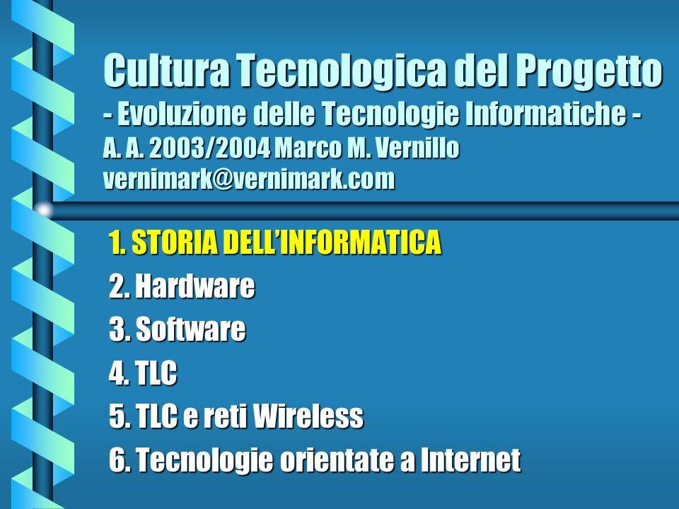 Cultura Tecnologica del Progetto - Evoluzione delle Tecnologie Informatiche - A. A. 2003/2004 Marco M. Vernillo vernimark@vernimark.com 1. STORIA DELL