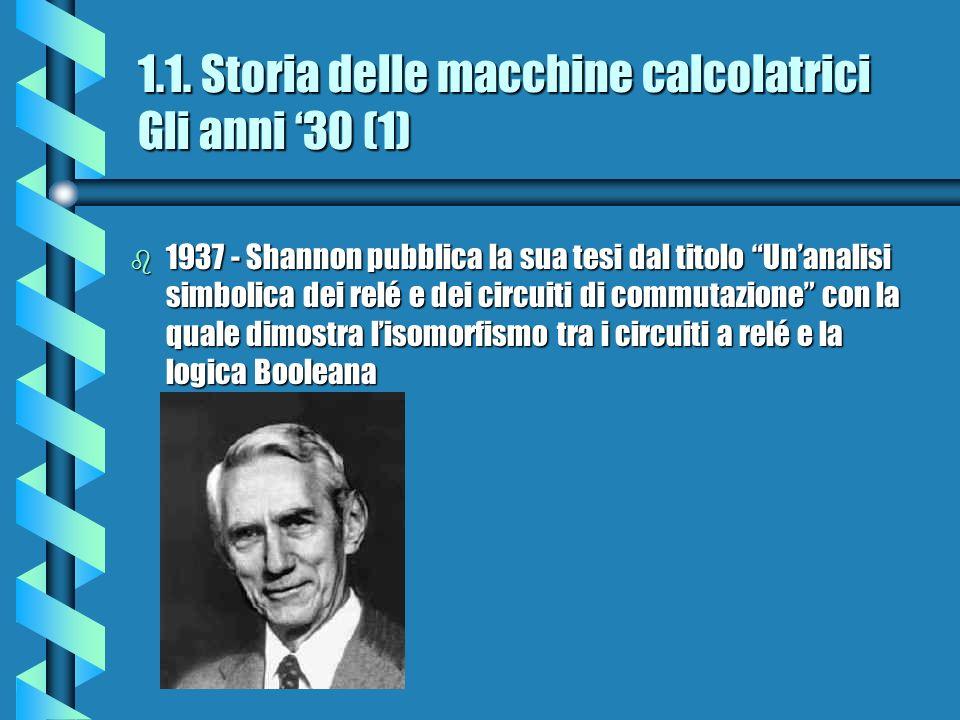 1.1. Storia delle macchine calcolatrici Gli anni 30 (1) b 1937 - Shannon pubblica la sua tesi dal titolo Unanalisi simbolica dei relé e dei circuiti d