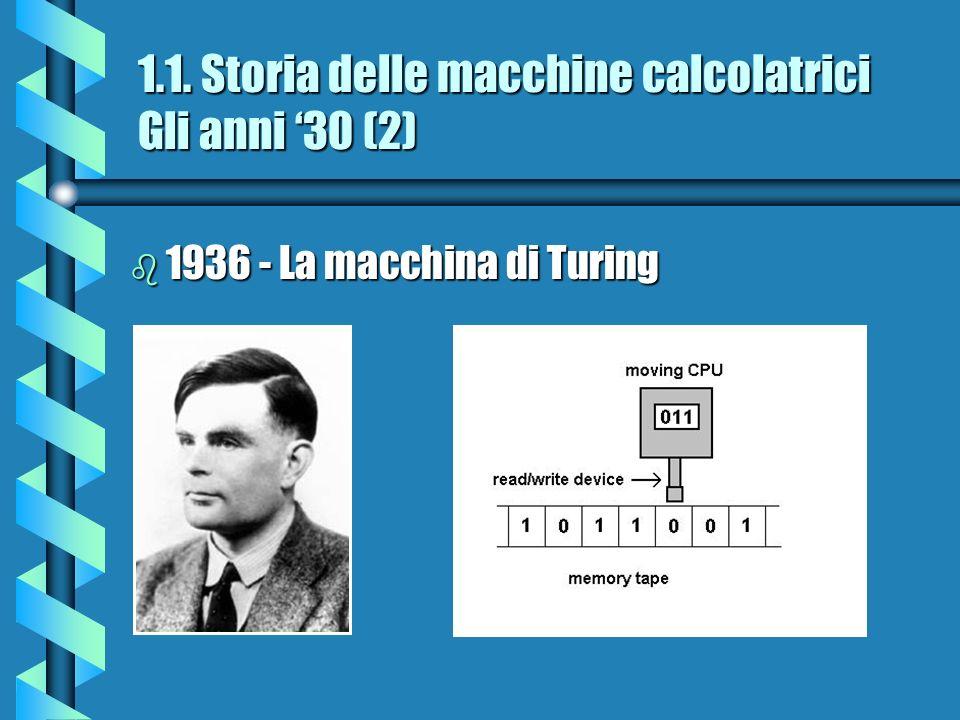 1.1. Storia delle macchine calcolatrici Gli anni 30 (2) b 1936 - La macchina di Turing