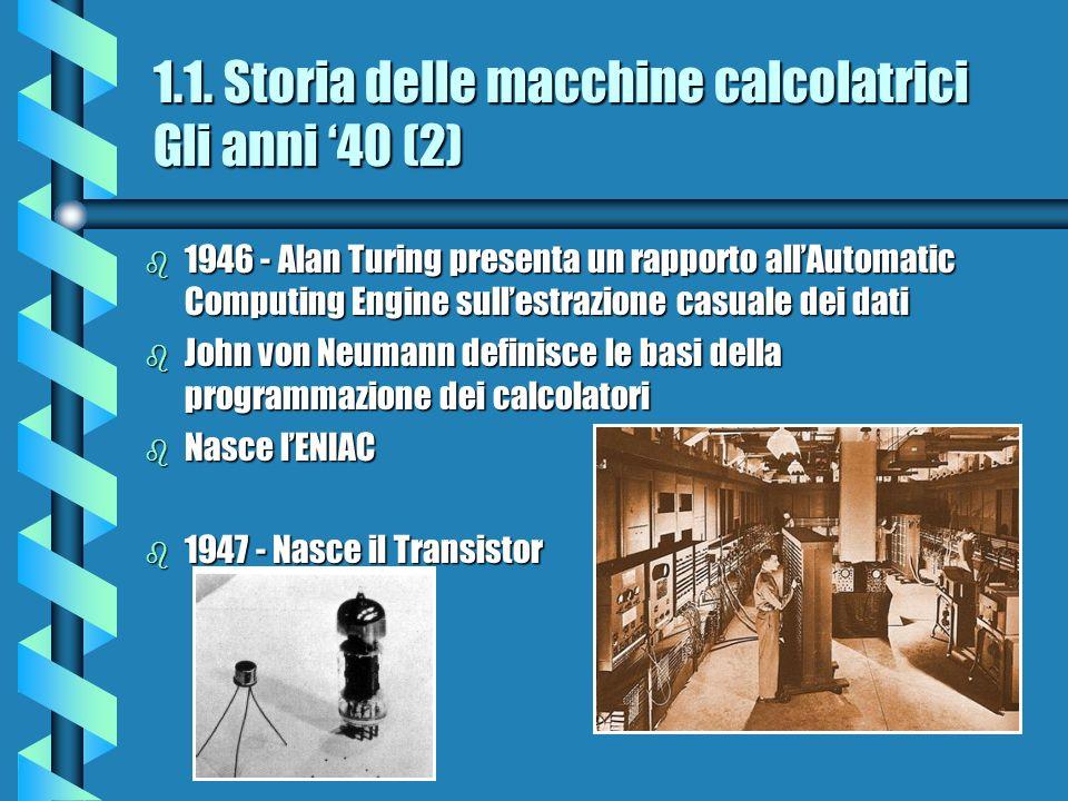 1.1. Storia delle macchine calcolatrici Gli anni 40 (2) b 1946 - Alan Turing presenta un rapporto allAutomatic Computing Engine sullestrazione casuale