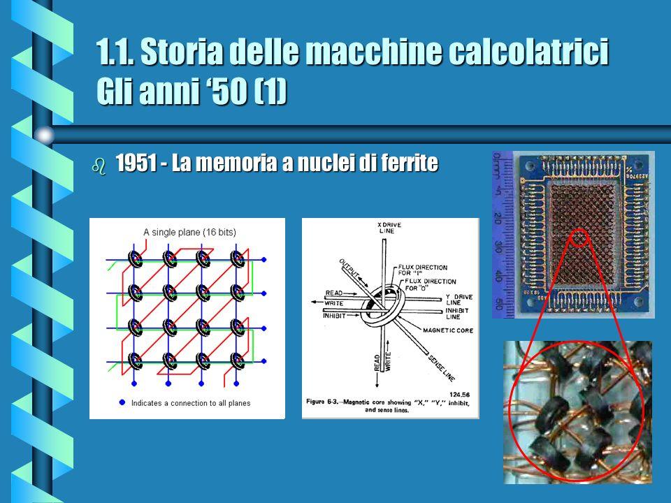 1.1. Storia delle macchine calcolatrici Gli anni 50 (1) b 1951 - La memoria a nuclei di ferrite