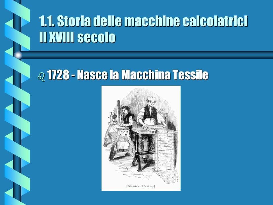 1.1. Storia delle macchine calcolatrici Il XVIII secolo b 1728 - Nasce la Macchina Tessile