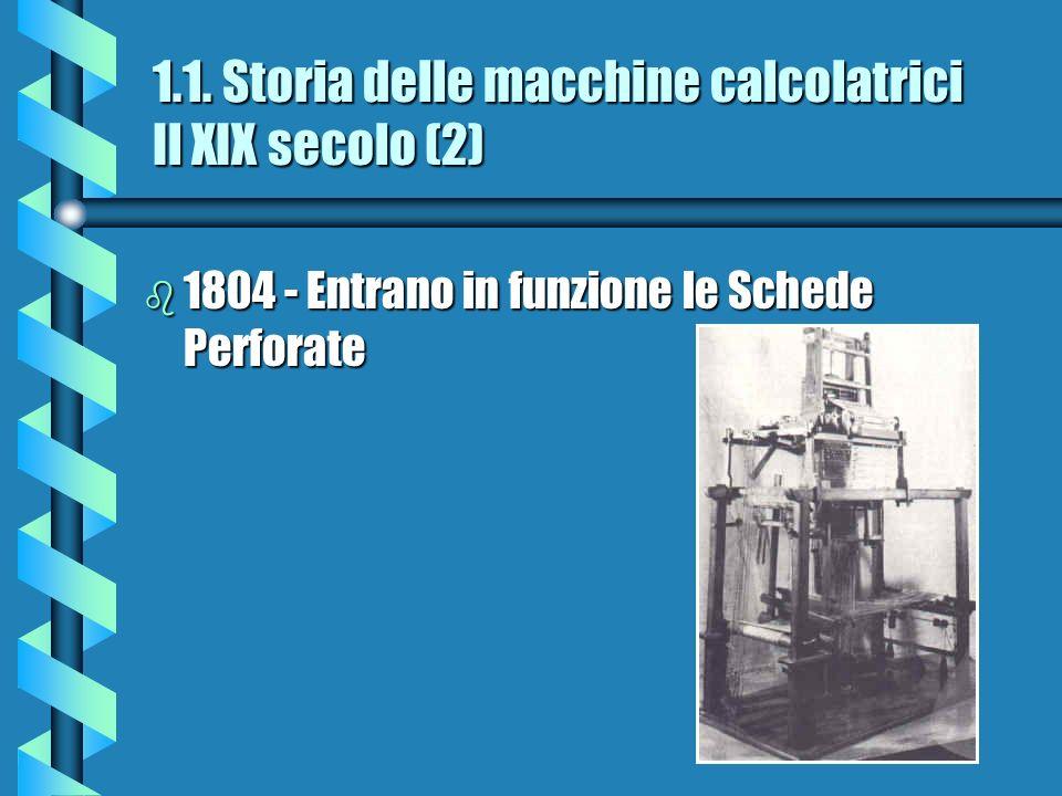 1.1. Storia delle macchine calcolatrici Il XIX secolo (2) b 1804 - Entrano in funzione le Schede Perforate