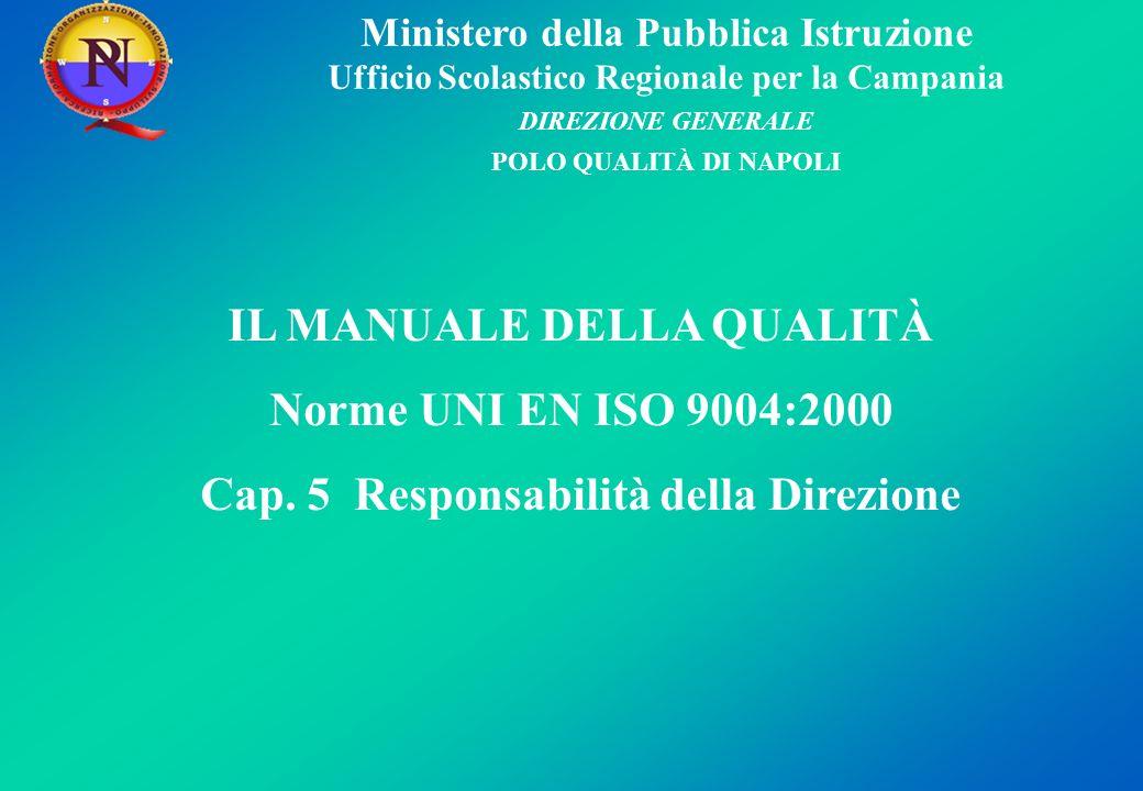 Ministero della Pubblica Istruzione Ufficio Scolastico Regionale per la Campania DIREZIONE GENERALE POLO QUALITÀ DI NAPOLI IL MANUALE DELLA QUALITÀ Norme UNI EN ISO 9004:2000 Cap.