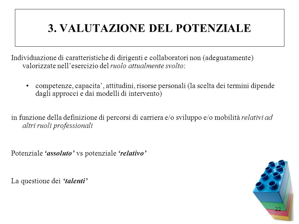 22 3. VALUTAZIONE DEL POTENZIALE Individuazione di caratteristiche di dirigenti e collaboratori non (adeguatamente) valorizzate nellesercizio del ruol