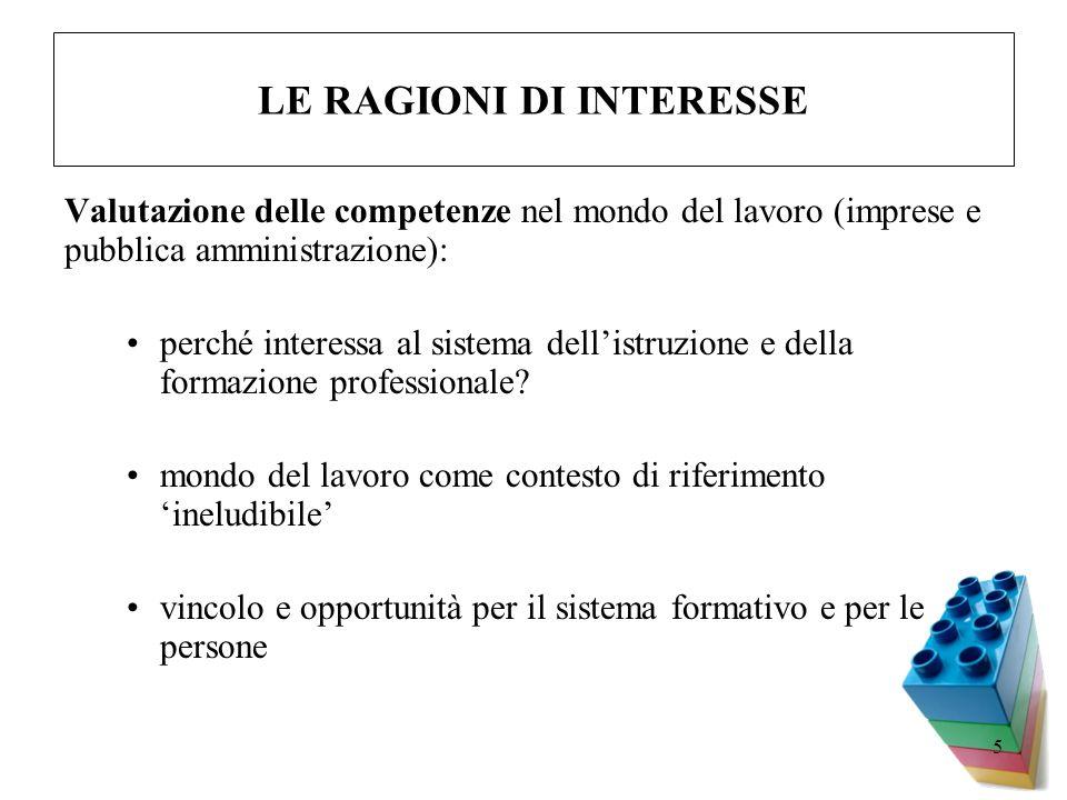 5 LE RAGIONI DI INTERESSE Valutazione delle competenze nel mondo del lavoro (imprese e pubblica amministrazione): perché interessa al sistema dellistr