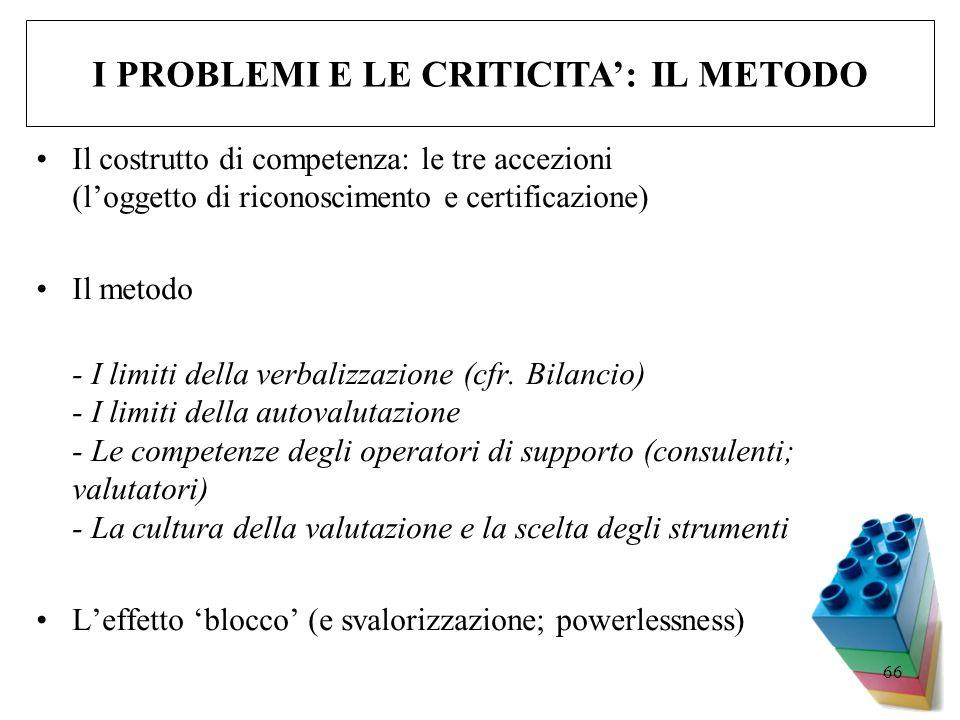 66 Il costrutto di competenza: le tre accezioni (loggetto di riconoscimento e certificazione) Il metodo - I limiti della verbalizzazione (cfr. Bilanci