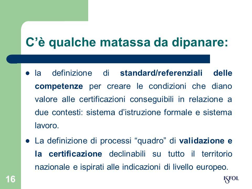 16 Cè qualche matassa da dipanare: la definizione di standard/referenziali delle competenze per creare le condizioni che diano valore alle certificazi