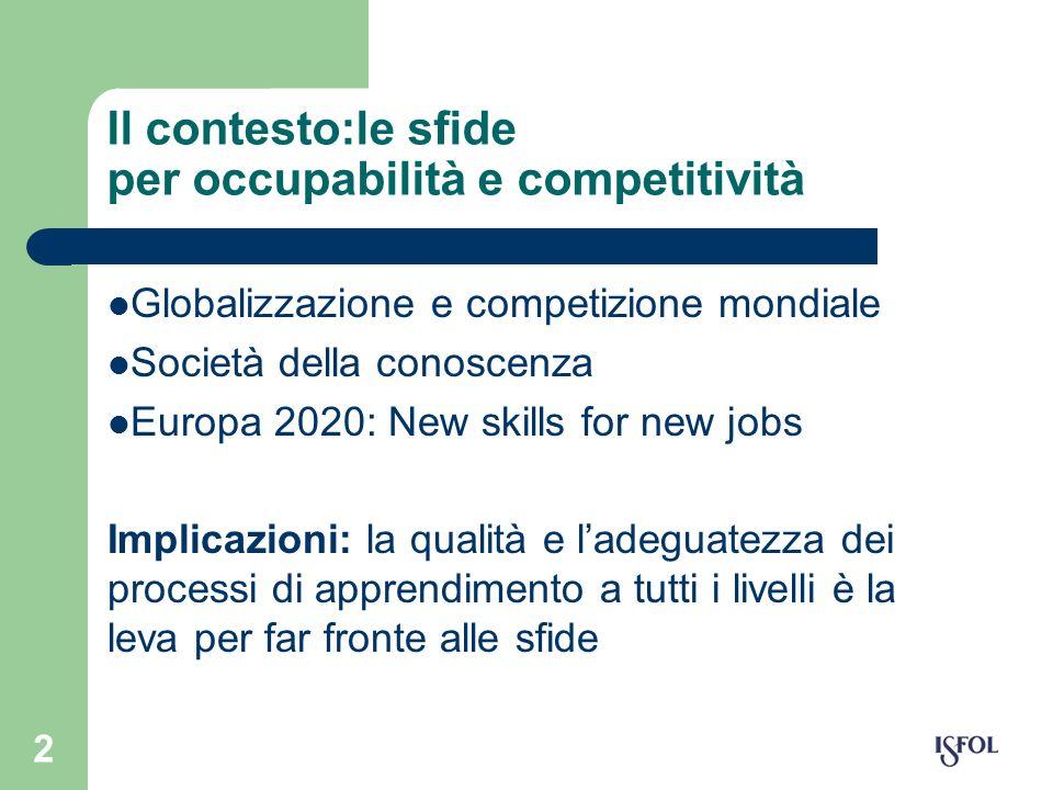 2 Il contesto:le sfide per occupabilità e competitività Globalizzazione e competizione mondiale Società della conoscenza Europa 2020: New skills for n