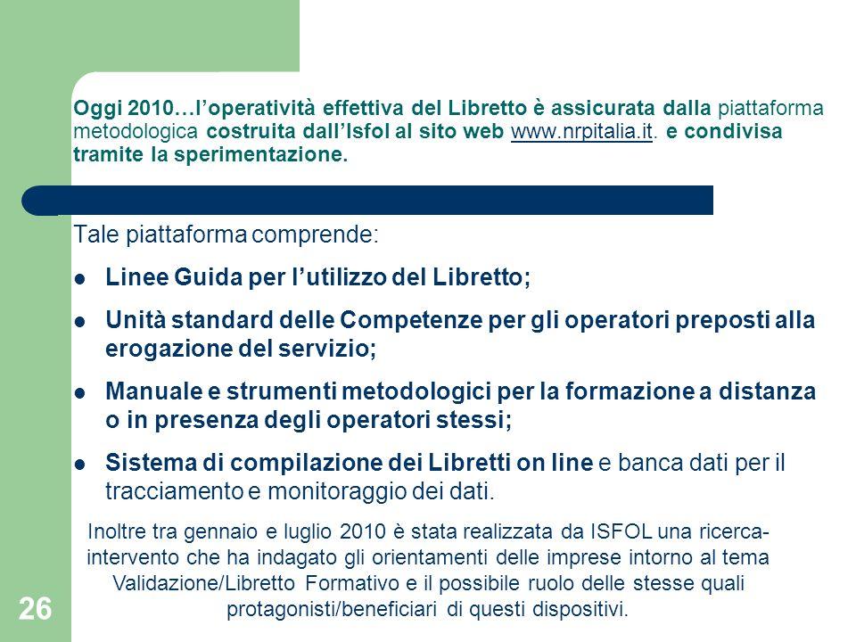 26 Oggi 2010…loperatività effettiva del Libretto è assicurata dalla piattaforma metodologica costruita dallIsfol al sito web www.nrpitalia.it. e condi