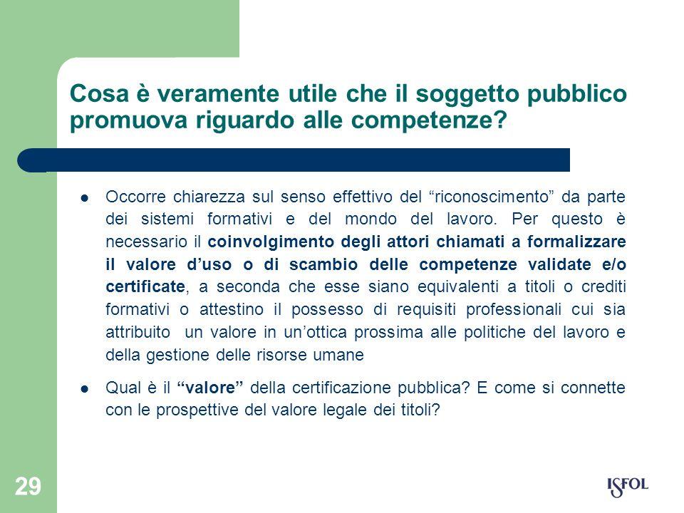 29 Cosa è veramente utile che il soggetto pubblico promuova riguardo alle competenze? Occorre chiarezza sul senso effettivo del riconoscimento da part