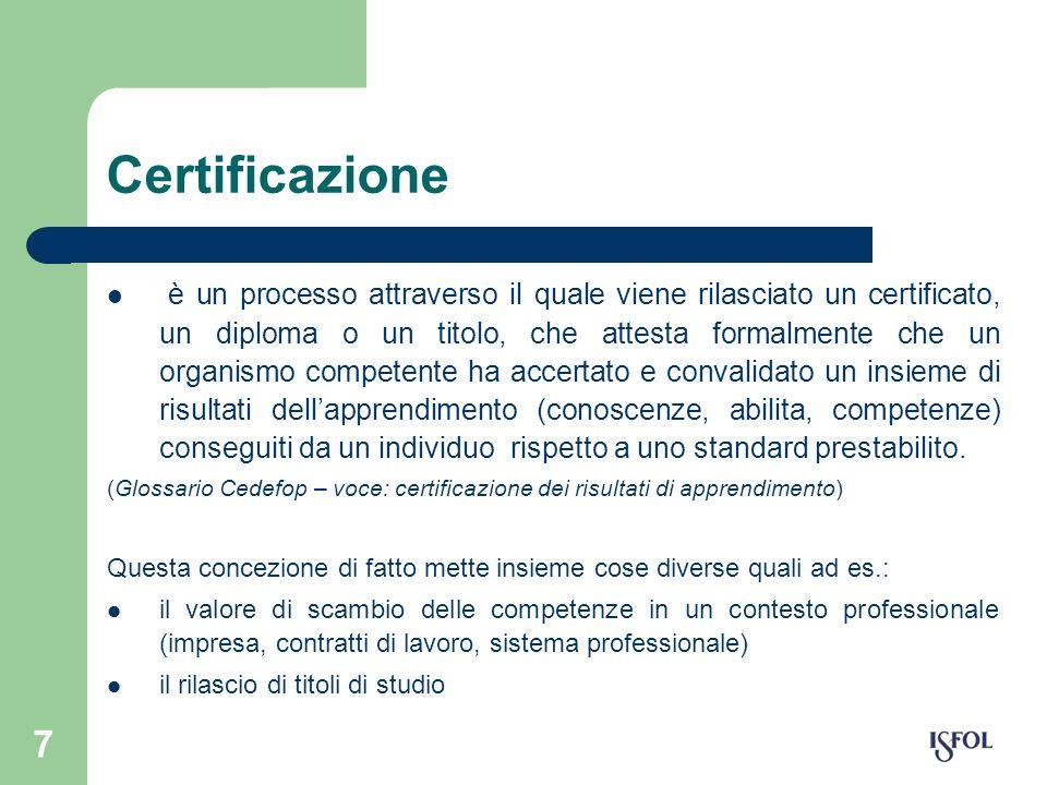 7 Certificazione è un processo attraverso il quale viene rilasciato un certificato, un diploma o un titolo, che attesta formalmente che un organismo c