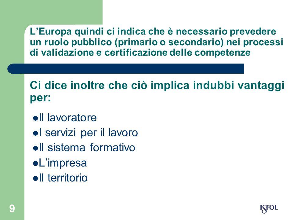 9 LEuropa quindi ci indica che è necessario prevedere un ruolo pubblico (primario o secondario) nei processi di validazione e certificazione delle com