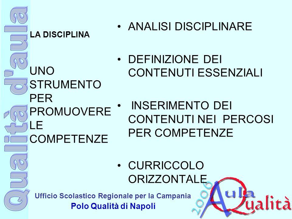 Ufficio Scolastico Regionale per la Campania Polo Qualità di Napoli LA DISCIPLINA ANALISI DISCIPLINARE DEFINIZIONE DEI CONTENUTI ESSENZIALI INSERIMENT